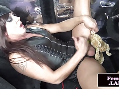 Leather femboy mastering her bone