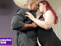 Bigtitted redhead tgirl interracially pounded