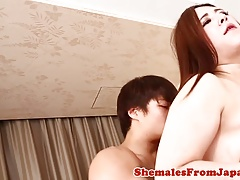 Huge-boobed asian shemale booty-fucked doggystyle