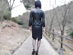 crossdresser leather microskirt