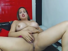 Big-titted She-male Wanking her Firm Dick