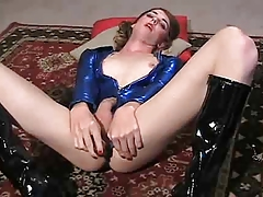 Transgender princess Mandy Solo in Blue Foil with a