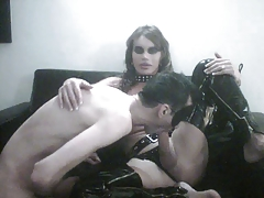 T-girl in leather tears up  naughty chaps