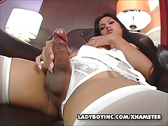 Shemale Amy tugging her  man meat
