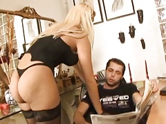 blond ladyboy and her dude