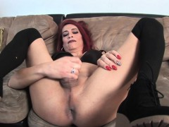 Mature evict redhead TS gets cum fro mouth