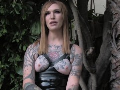 Tattooed tranny wanking not present outdoors