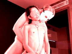 Ladyboy shemale blindfolded blowjob thither a big uninspired cock