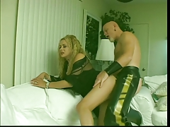 Huge-titted tgirl is pulverized rock-hard by insatiable smooth-shaven fellow in leather garb