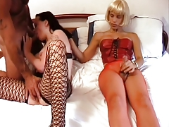 Super-steamy dark haired stunner takes transgender princess and dude's man sausage in all slots