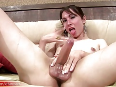Honeyed up  teases her ladystick until a  cumload