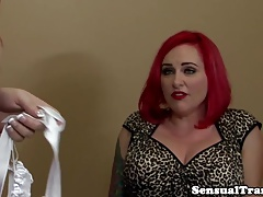 Curvaceous girl/girl tgirl doggystyles bossy redhead