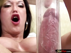 brown-haired ladyboy pumps up her weenie and spills cum