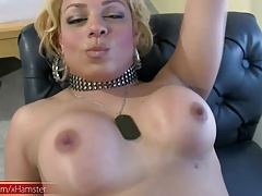Plump ash-blonde t-babe peels off ebony  and pets funbags
